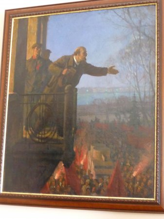 Painting of lenin giving his famous speech from that for Origin of balcony