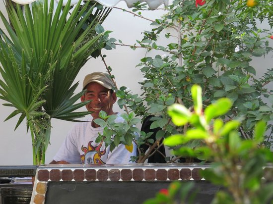 Riad Dar Najat: Oliver in his 'office' on the roof terrace