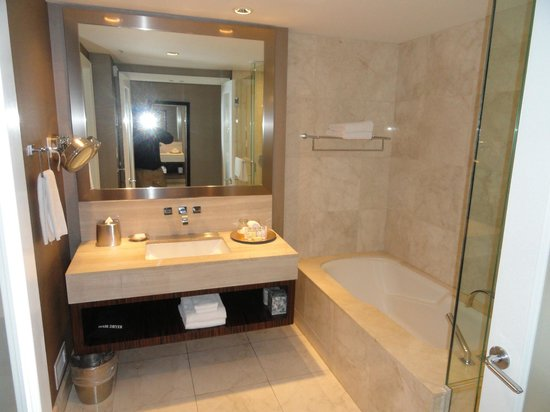 Nice bathroom with makeup mirror picture of l 39 hermitage for Nice bathroom mirrors