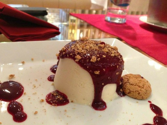 White chocolate semifreddo with wild berries sauce ...