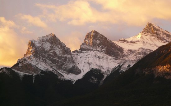 Canmore Crossing: The Three Sisters taken from our condo balcony one morning