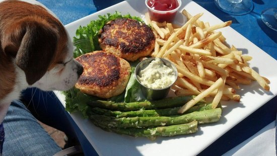 Kalypso's: Crab cake platter $22. Crab cakes were OK but fries were great!!