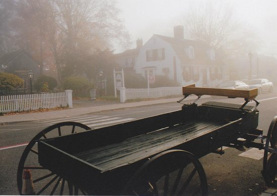 From the porch of the Griswold Inn in morning fog