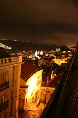 Alfama Patio Hostel Night View To The Right