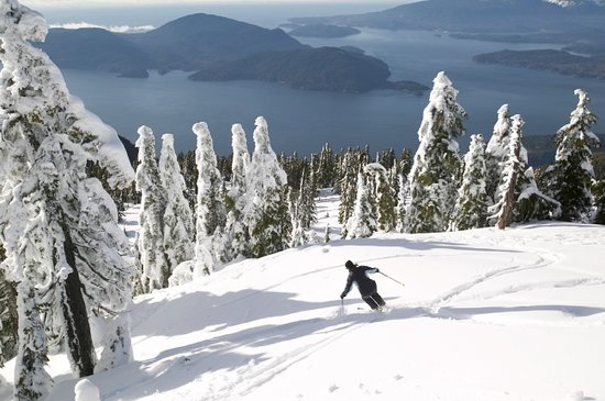 British Columbia, Canada: Ski with ocean view. Cypress Mountain, West Vancouver. Insight Photography
