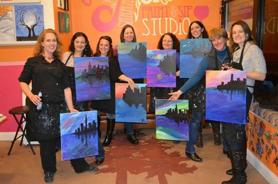 Painting and sipping in progress picture of saratoga for Sip and paint charlotte nc