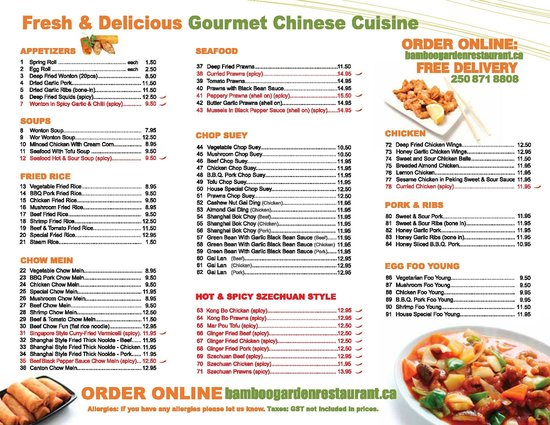 Bamboo Garden Takeout Menu Page 2 Picture Of Courtenay Comox Valley Tripadvisor