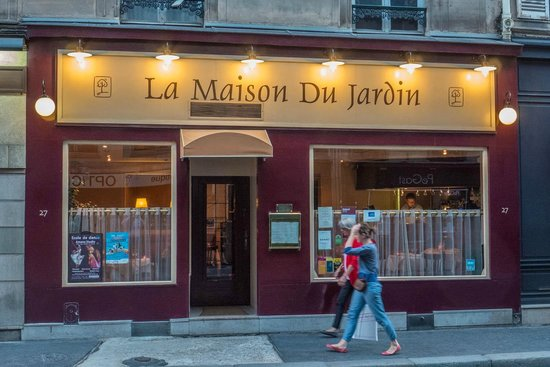 Menu outside the restaurant picture of la maison du for Cafe du jardin london