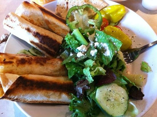 Chicken roll up and greek salad picture of zoes kitchen for Zoes kitchen charlotte nc