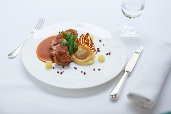 Duck breast with fennel served with apple puree and duck ...