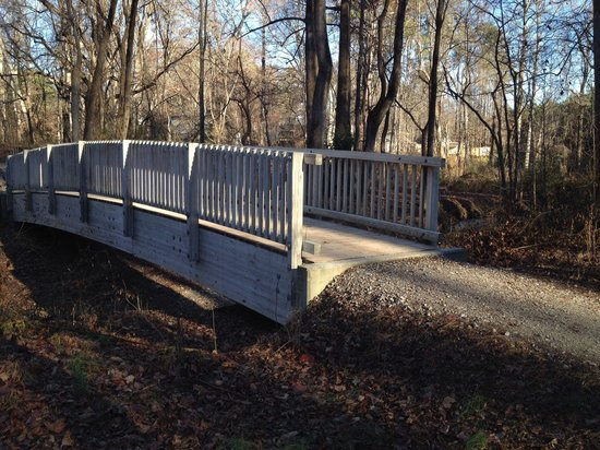 North Carolina Museum of Art: One of the bridges on the wooded trails.