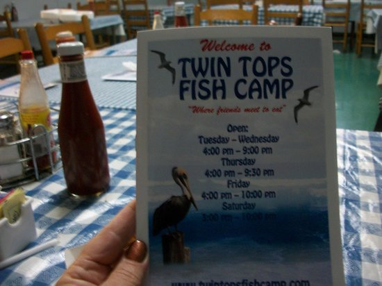 The menu front cover picture of twin tops fish camp for Fish camp menu