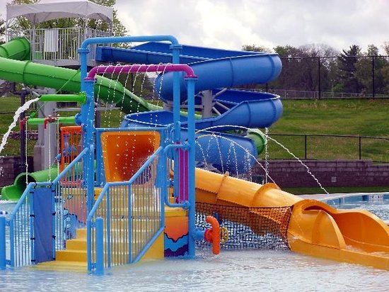 The Waterslides And Water Play Structure At Welch Pool