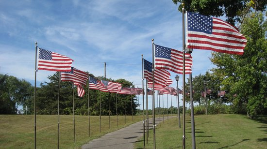 Belle Plaine Veterans Memorial Park: The many flag poles dedicated to the service of local veterans