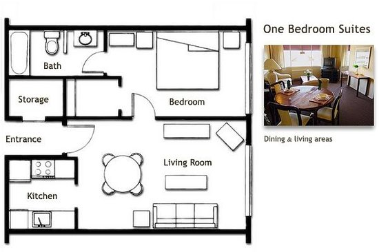 One Bedroom Hotel Room Floor Plans