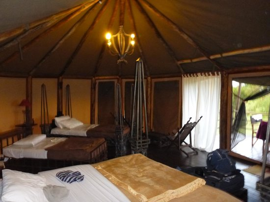 Kilima Camp: The sleeping area of the deluxe family tent