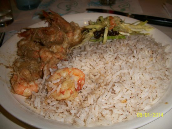 Carribean spiced garlic shrimp with coconut rice - Picture ...