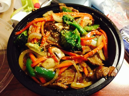 Oliviero: Teriyaki beef stir fry with white rice, onions, bell peppers ...