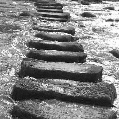 Stepping stones on Perranporth beach not far from Seiners Inn.