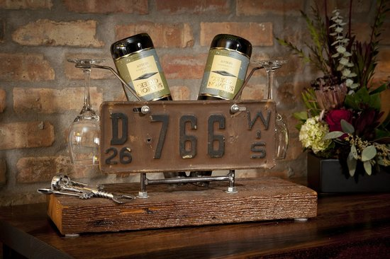 Ironworks Hotel: Custome Industrial Wine Holder from Reclaimed Materials