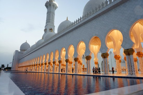 Sunset Picture Of Sheikh Zayed Grand Mosque Center Abu