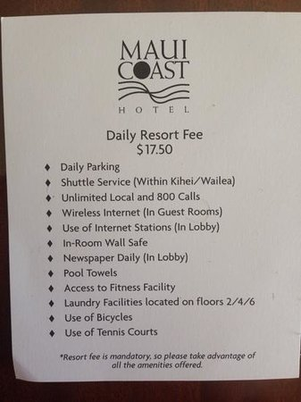 """Maui Coast Hotel: paper given within """"welcome kit"""" papers"""