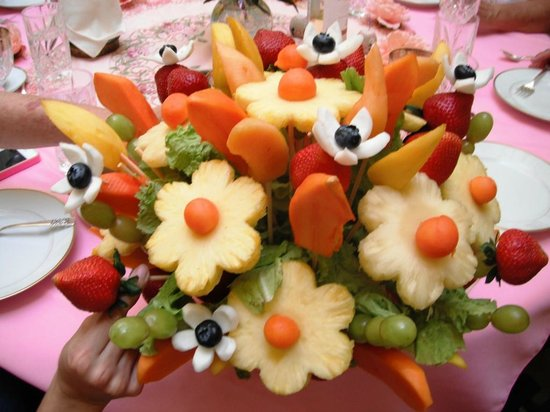 """This is a """"fruit Bouquet"""" made by the staff at cascadas de Merida"""