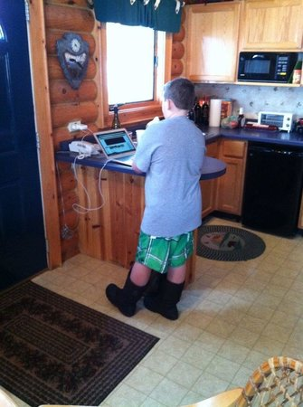 Cedar Lodge & Settlement: Little brother prepping for the waterpark!