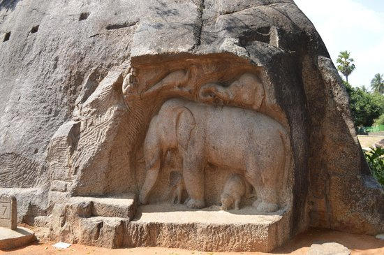 Rock carving picture of monuments at mahabalipuram