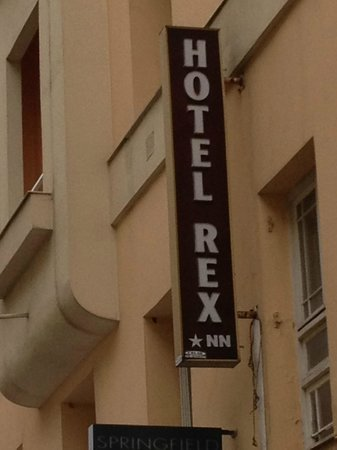 Hotel Rex: This external sign is visible in Rue Massena