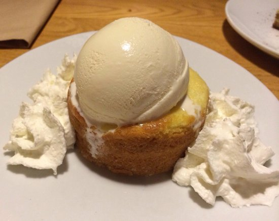 Butter cake with ice cream - Picture of California Pizza ...
