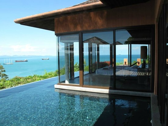 Our villa infinity pool and bedroom picture of sri panwa for Villas with infinity pools