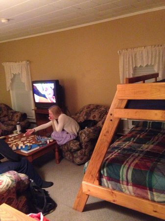 The Inn at the Rostay: Living room/bunk beds Gross furtiture