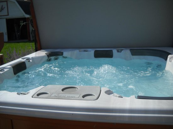 Harpster Davenport Guest House: 6 Person Outdoor Hot Tub on Patio with Seating for Relaxing