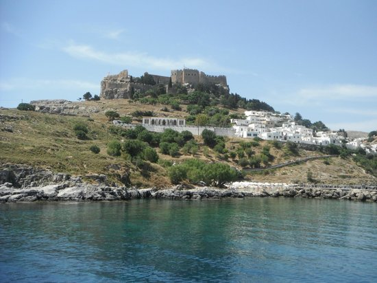 Lindos Village from the sea - Picture of Village of Lindos ...