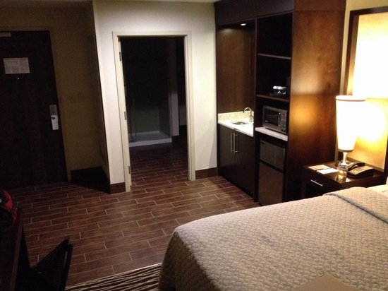 Embassy Suites by Hilton Fayetteville/Fort Bragg: Clean modern room, but no sitting area.