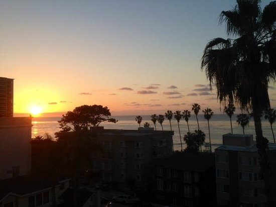 Sunset in mid-March from the rooftop terrace at the La Jolla Inn.  This was also room view.