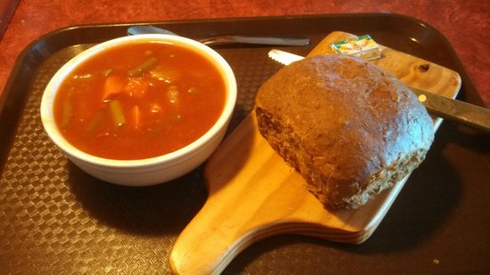 Hearty ve able soup with brown bread Picture of The