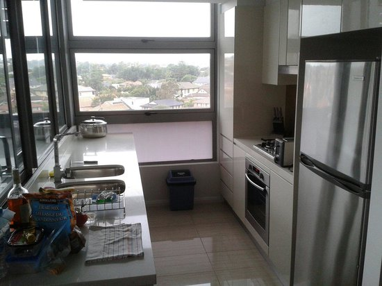 Very functional galley kitchen corner apt building o for Galley kitchen with breakfast nook