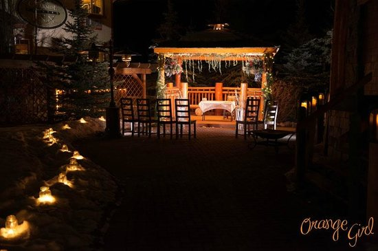 Candle Light Walkway To The Gazebo In The Garden At A Bear Amp Bison Inn Canmore