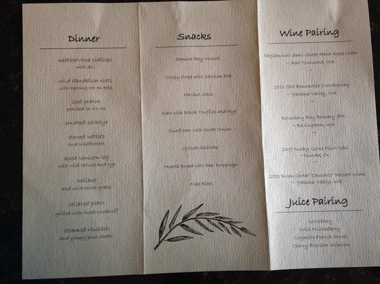Willows Inn Restaurant: menu