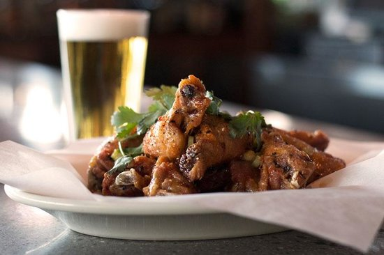 Portsmouth, NH: Habanero orange barbecue wings paired with an ice-cold ...