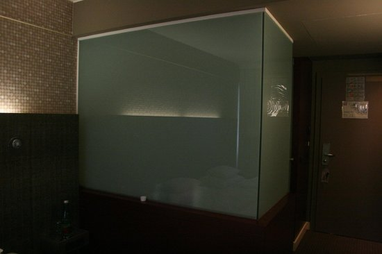 Frosted glass wall around the bathroom seen from room - Picture of ...