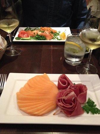 Melon and smoked salmon starter