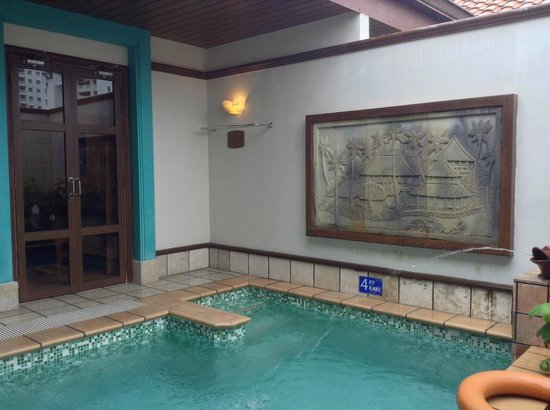 Private pool view taken from shower exit door for Garden pool villa grand lexis pd
