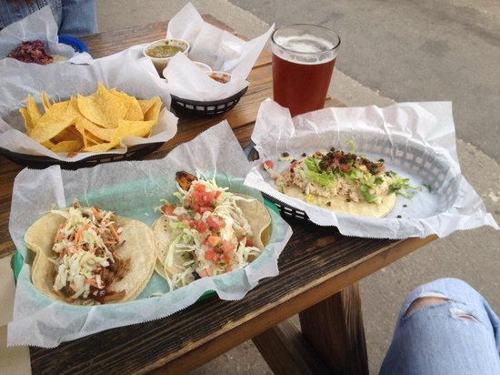... salsa verde bbq carnitas tacos from white duck taco shop traci s