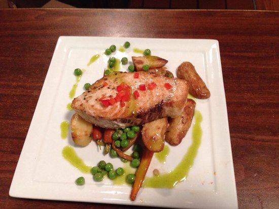 with roasted fingerling potatoes tricolor carrots and English peas ...