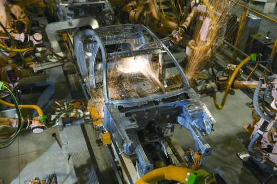 More Than 280 Robots Weld Together Car Bodies During The