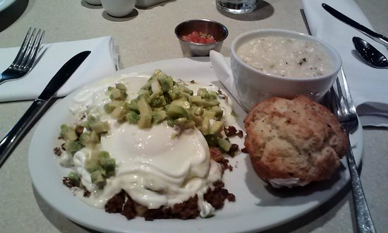 Kalamity Katie's Border Benedict w/out green onions. Grits of the ...