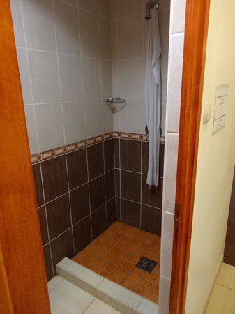 Old Monarchia Hotel: Shower with no curtain :-(